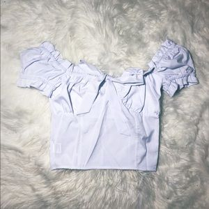boutique Tops - Ruffled Scrunched Top - White